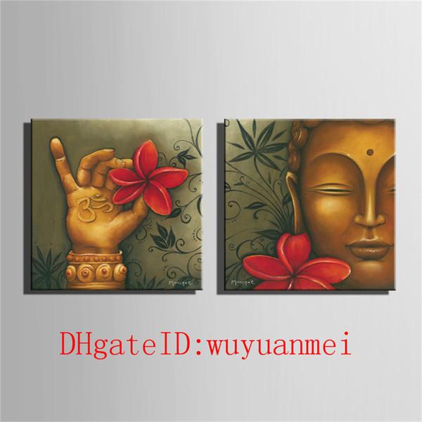 Buddha & Flower , 2 Pieces Home Decor HD Printed Modern Art Painting on Canvas (Unframed/Framed)