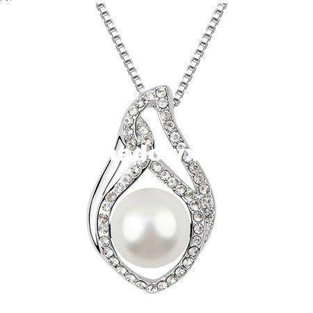 Wholesale - Women's 18K White Gold Plated, Water Drop Style White Pearl & Crystal Pendant Necklace Made With Elements (6131)