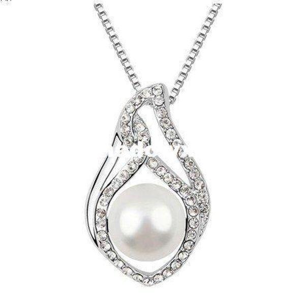 Großhandel - Frauen 18K Weißgold plattiert, Wassertropfen Stil weiße Perle Kristall Anhänger Halskette mit Elementen gemacht (6131)