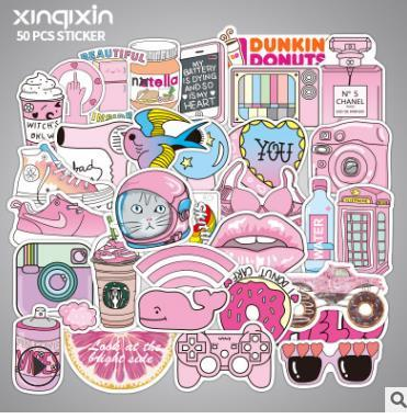 50Pcs/Lot anime Pink girl Stickers For Car Laptop PVC Backpack Home Decal waterproof Skateboard Pad Bicycle