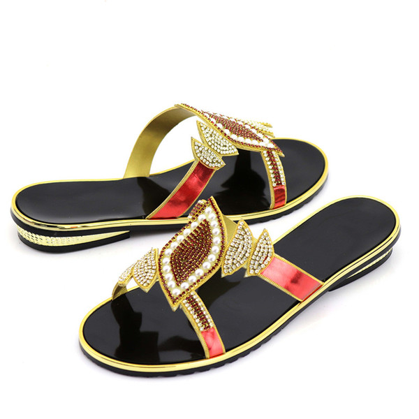 Newest 2018 African Women Rhinestone Slippers Shoes Summer Fashion Low Heels Casual Shoes Summer Lady Sandals For Wedding Party