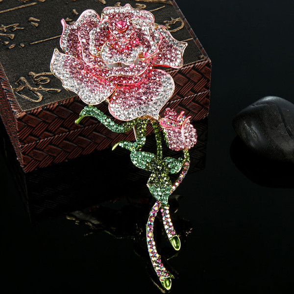 Very Big Rose Flower Brooch For Women Best Wedding Jewelry Colar Rose Pink Crystal Broches Bijuterias Fashion Woman Hijab Pins