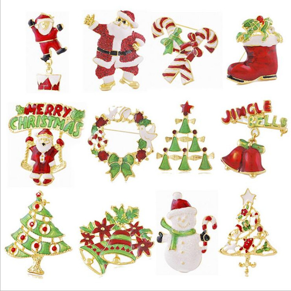 12 Styles Christmas gift brooches pin Santa Claus and boots brooches cane wreath snowman Christmas tree brooches jewelry gift DHL free ship