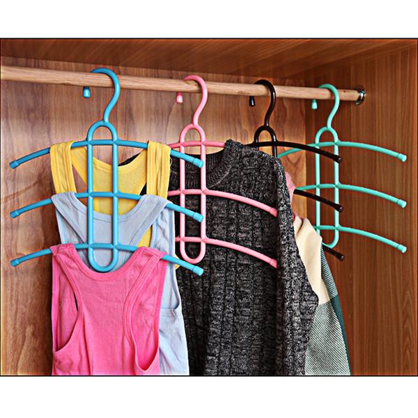 Wholesale Lot of 5pcs Random color 3 Layers Clothes Hanger Rack Plastic Fish bone Type Hanging Closet Space Save