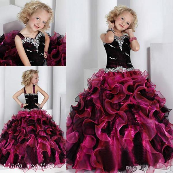 Siyah ve Pembe kızın Pageant Elbise Prenses Balo Parti Cupcake Balo Elbise Genç Kısa Kız Için Pretty Elbise Küçük Çocuk Için