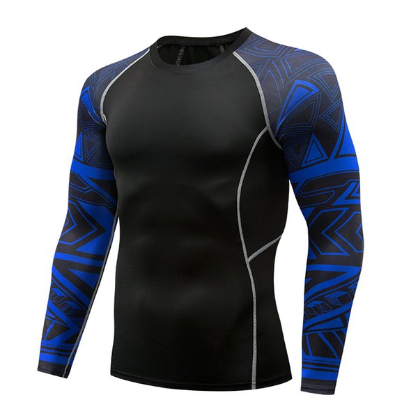 Running T-shirt High Elastic Fast Dry Men's Tights Basketball Running Fitness Sportswear Training Long Sleeve T Shirt Men TC-118