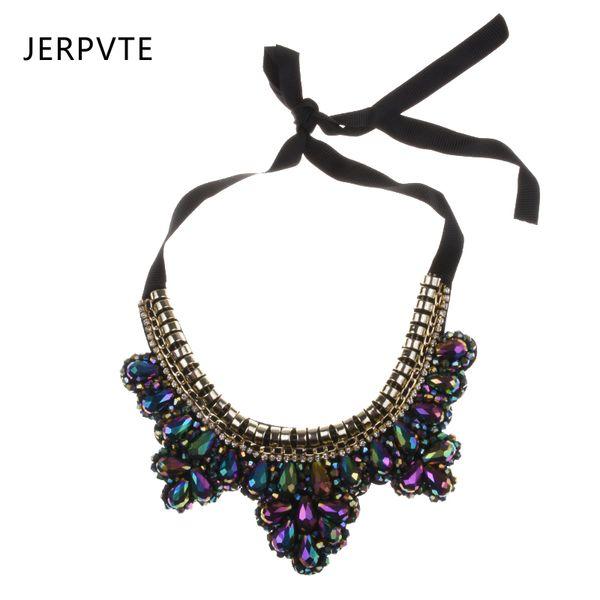 JERPVTE Fashion Necklaces For Women 2018 Jewelry Pretty Statement Rhinestone Crystal Black Ribbon Tie Bib Gem Collar Necklace
