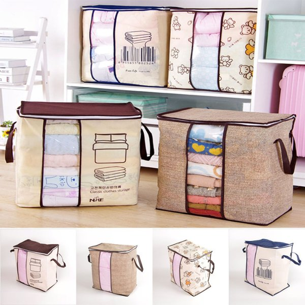 4 Styles Foldable Storage Bag Organizer Closet Clothes Organizer For Pillow Quilt Blanket Bedding Big Capacity NNA491 20pcs