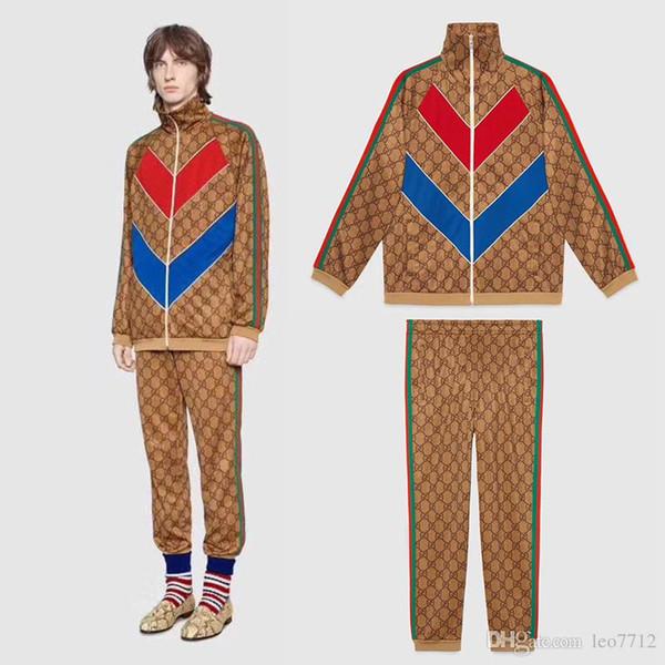 18SS frühen Herbst brandneue italienische Marke ikonischen Muster G Plain Knit Gürtel dekorative G Ärmel Sport Anzug