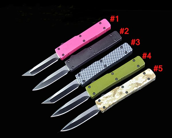 Hot sale! 5 Handle Colors Mini Small Auto Tactical Knife 440C Steel Blade EDC Pocket Knives Gift Knives With Retail Box Package