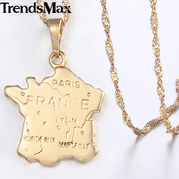 France Map Pendant Necklace For Women Champagne Gold Smooth Womens French Shaped Pendants Woman Jewelry 2018 Dropshipping KGP320