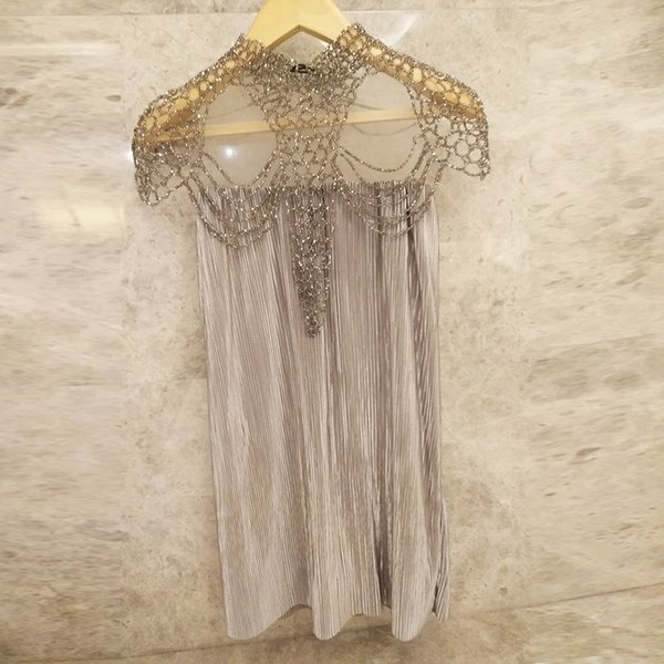 Luxury party new design women's crystal beading cape high quality gauze off shoulder pleated a-line loose dress vestidos S M L