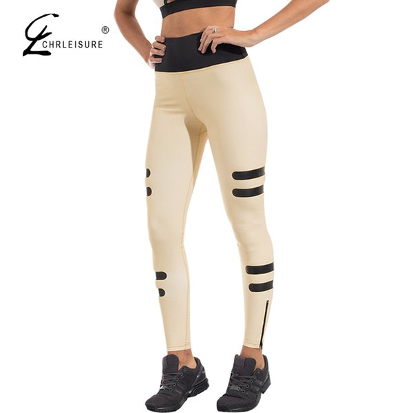 CHRLEISURE Women's Active Push UP Leggings High Waist Zipper Sporting Fitness Legging Quick Drying Leggins Women 2 Colors S-XL