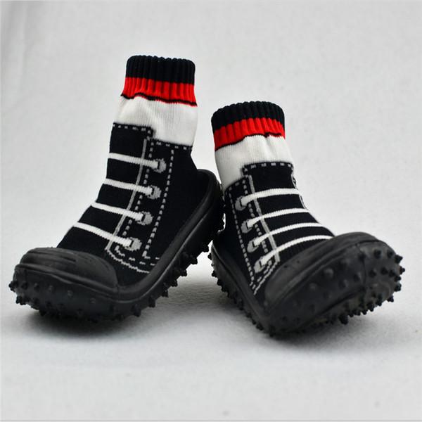2 Pair / lot Baby Socks Toddler Indoor Floor Shoes Infant Socks With Rubber Soles Panda Cartoon Animal Rainbow LMY005LL