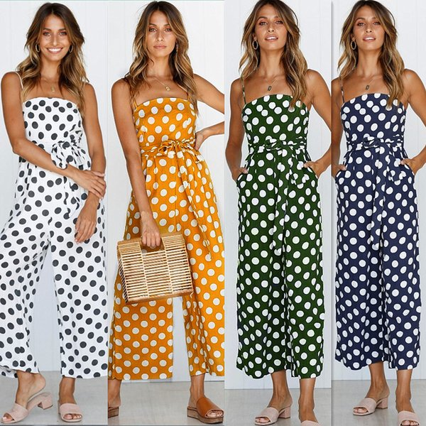 Women Polka Dot Jumpsuit Spaghetti Strap Summer Casual Beach Long Playsuit Wide Leg Romper Overalls