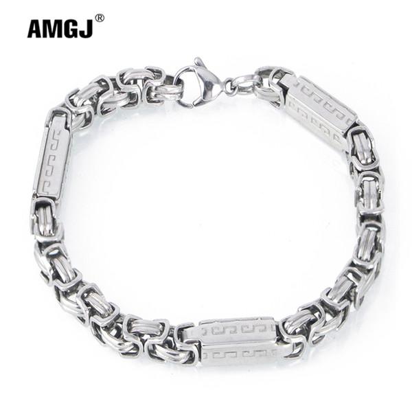 Amgj Stainless Steel Byzantine Bracelets for Men's Steel Punk Hip Hop Stamped Great Wall Box Chain Bracelet Titanium Jewelry