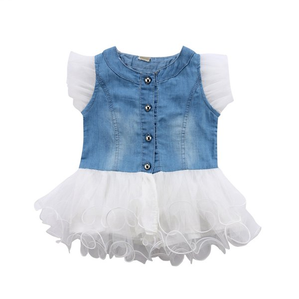 Baby Girl Kids Princess Dress Summer Sleeveless Denim Button Ball Gown Dresses Girls Clothing Round Neck Lace Cute Outfit