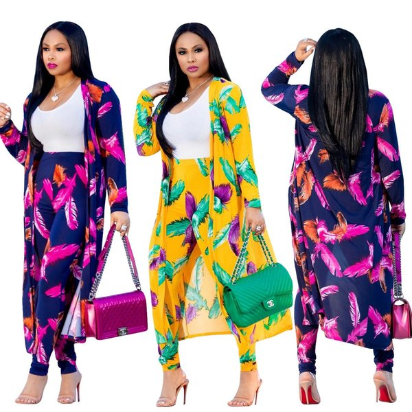 Wholesale Autumn Print Women Two Piece Set Long Sleeve X-Long Cardigan Outwear+Pencil Pants Fashion Casual Suit Coat Outfits