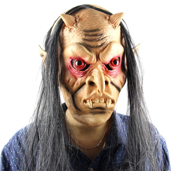 New Men Halloween Scary Ghost Mask Latex Full Face Red Eyes Long Hair Wig Horror Masks Masquerade Party Cosplay Props