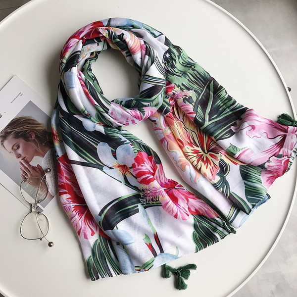Summer Blue Powder Flower Cotton and Linen Scarf Dual Use Air Conditioning Printing Tassel Sunscreen Shawl Tourism Beach Flood Prevention