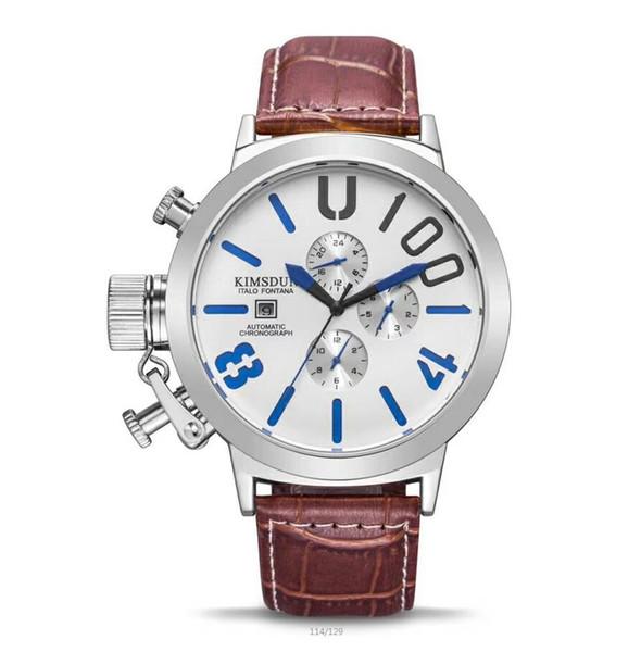 Top Quality New Luxury watch Mechanical automatic Auto Data Men's Wristwatch Leather Fashion Male watch A4