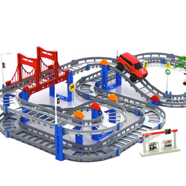 Bricks Kids Multilayer Electric Rail Car Construction Vehicles Toy Assembled Puzzle Train Track Building Blocks Educational Toys Gift