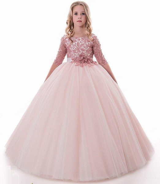 Blush Lace Backless New Flower Girl Dresses Ball Gown Child Wedding Dresses Vintage Little Girl Pageant Dresses23423