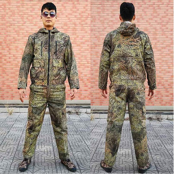 Men's Grass Bionic Camouflage Hunting Clothing Hunting Jacket Pants Bush Clothes Ghillie Suit for Bird-watching