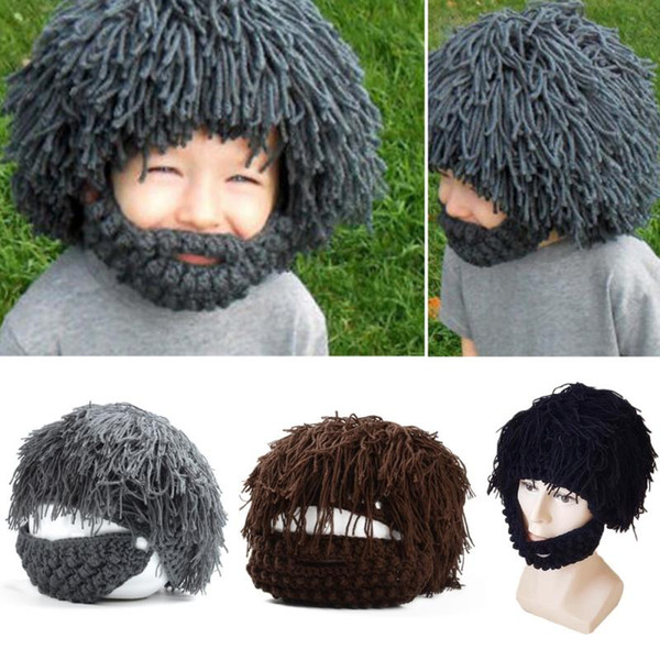 Unique Wigs Fake Beard Style Warm Hat Exaggerated Wild Man Style Knitting Cap Knitting Wool Knitting Cap Unisex for Kids Adults