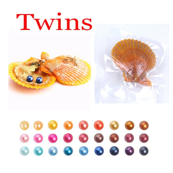 2018 DIY 6-8mm Red shell akoya oyster with Twins pearl Mixed 27colors Top quality Circle natural pearl in Vacuum Package For Gift Surprise