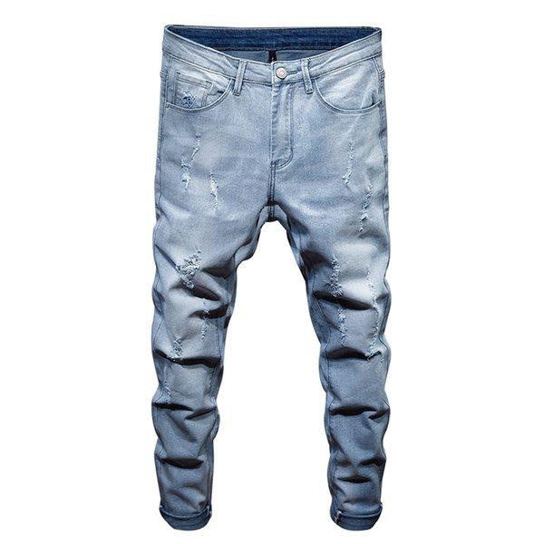 Street Style Hommes Denim Jeans De La Mode Trou Hommes Jeans Pantalon Brand New Blue Trousers Pantalon Mâle De Haute Qualité