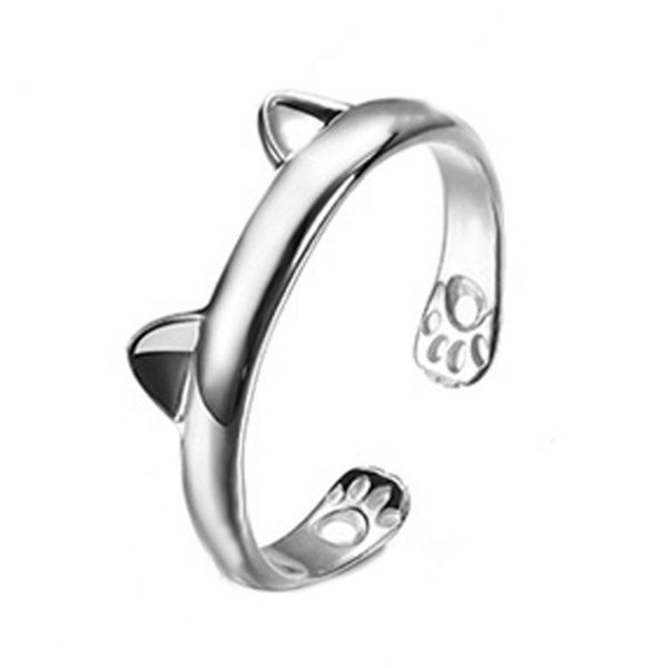 Fashion Women Cute Cat Ear Claw Silver Color Open Ring Finger Animal Jewelry For Young Girls Jewelry Friend Gift