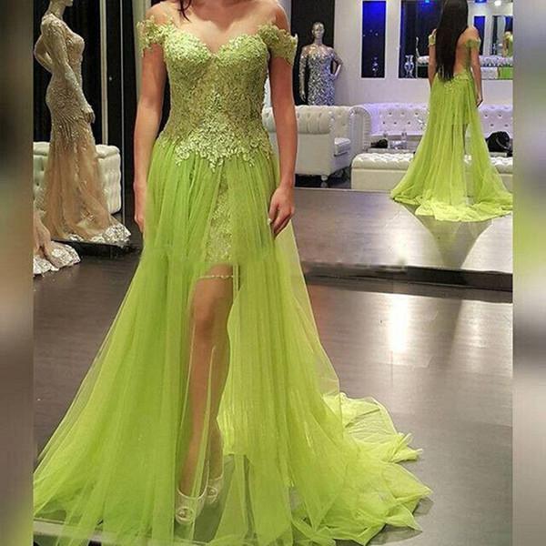 2018 Sexy Green Lace High Low robe de soirée pas cher See-through Sweetheart Sexy Cap Sleeve Appliques Robes de soirée Robes de bal pas cher