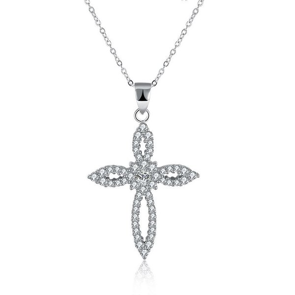 Sterling Silver 925 Necklace Lady Zircon Jewelry Pure Silver Flower Cross Pendant Necklace Free Shipping n111