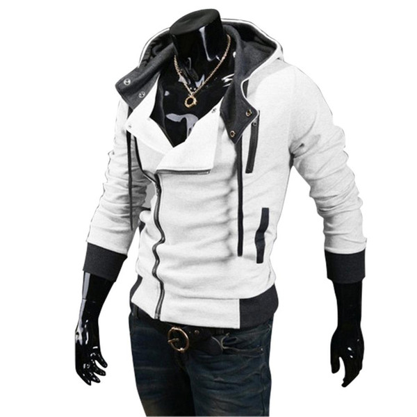 super004 / 2018 Neue Herbst Winter Schräg Reißverschluss Beiläufige Dünne Langarm Hiphop Assassin Creed Hoodies Sweatshirt Oberbekleidung Jacken