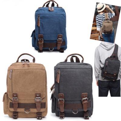 8 Colors Unisex Canvas Shoulder Bag Student School Bag Laptop Bag Outdoor Travel Backpack Single Blet Dual Belt Rucksack CCA9954 10pcs