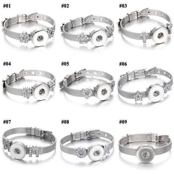 New noosa stainless steel Snap Button Bracelet Flower Charms Bracelet Bangles fit 18mm Snap Buttons Jewelry
