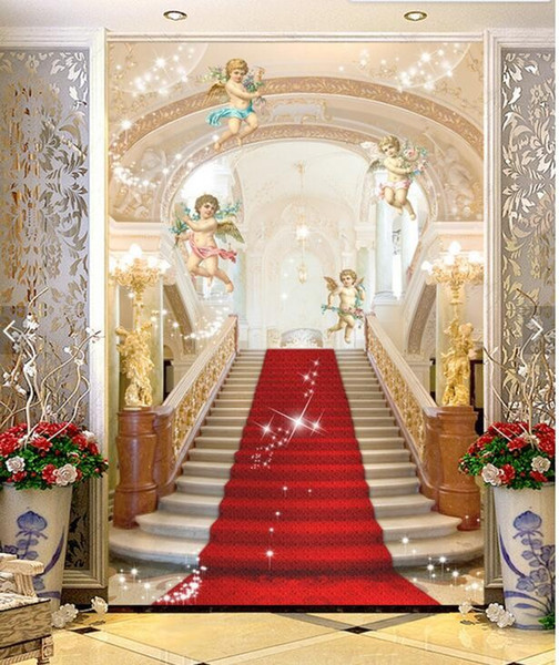 Wholesale-Custom Luxus 3D Wallpaper, Engel und Treppe zum Himmel für das Wohnzimmer Schlafzimmer TV Hintergrund Wand wasserdicht Papel de Parede