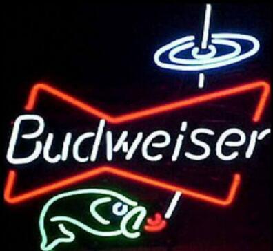 Custom New Budweiser Fishing Real Glass Neon Sign light Beer Bar Sign Send need photo 19x15""