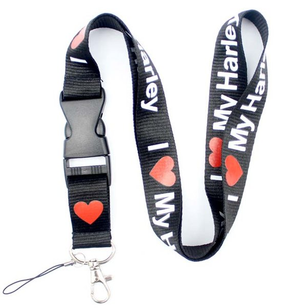 100pcs I Love harley- Lanyard - Key Chain ID Ticket Badge Holder Strap
