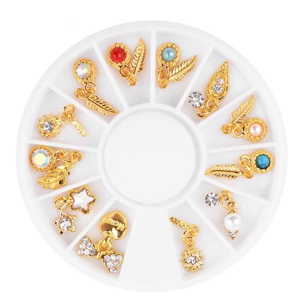 Nail Art Wheel Metal 3D Tip Pendant Feather Leave Heart Star Rhinestone Crystal Gems Bead Pearl Decoration Polish Decal Manicure