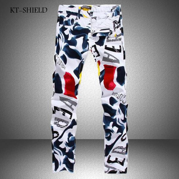Großhandels- Mens-Denim-Hosen-Herbst-neue berühmte Marke Mann-beiläufige Hosen-Art und Weise 3D gemalte Jeans-weiße dünne Baumwollhose Vaqueros Hombre