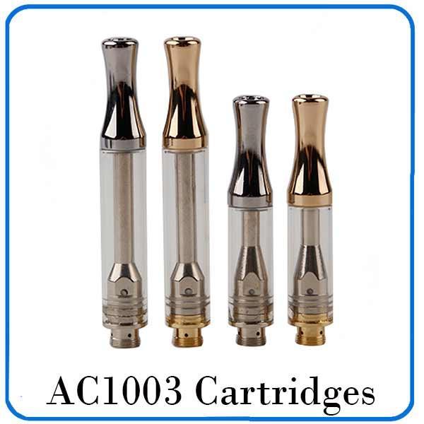 AC1003 Kartuşları 0.5 ml 1.0 ml Gümüş Altın Metal Damla İpucu Pyrex Cam Tüp Tank Yatay Seramik Bobin Ile 510 Kartuşları 0266211