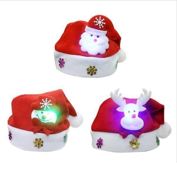 best selling LED Christmas Hat Child Santa Red Accessories Decorations For Holiday Party New Year Supplies c089