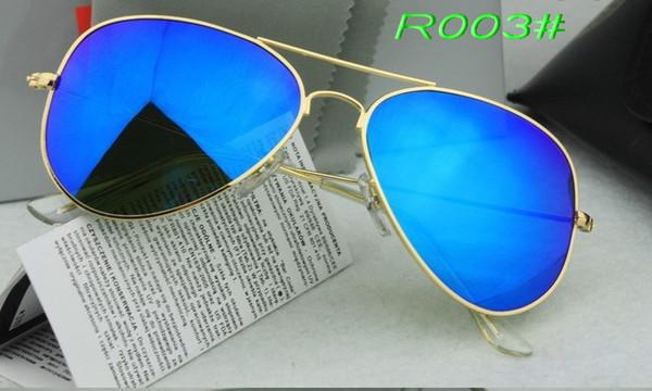 2018 Excellent Quality Designer Sunglasses Pilot Sun Glasses For Mens Womens Silver Metal Flash Blue Mirror 62mm Glass Lenses Hot Sale