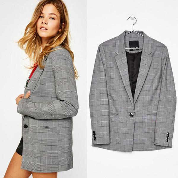 High Quality Elegant Autumn V-Neck Turn-Down Collar Slim Plaid Blazer Jacket Long Sleeved Checked OL Woman Suits Slim Casual buckles Coat