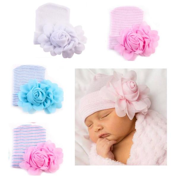 Chapéu recém-nascido Gorros Big flower Crianças bonés Caps Maternidade Macia 2018 Primavera Outono Algodão Listrado Europeia atacado 0-6meses
