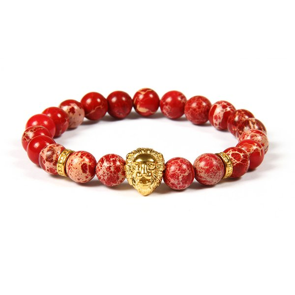 New Design Stainless Steel Jewelry Wholesale 10pcs/lot 8mm Red Seadiment Imperial Stone With Stainless Steel Lion Head Beaded Bracelet
