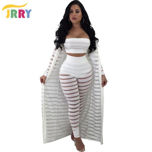 20187 JRRY Three Pieces Women Jumpsuit Long Sleeve Cape Coat Strapless Top Long Pants Ladies Romper