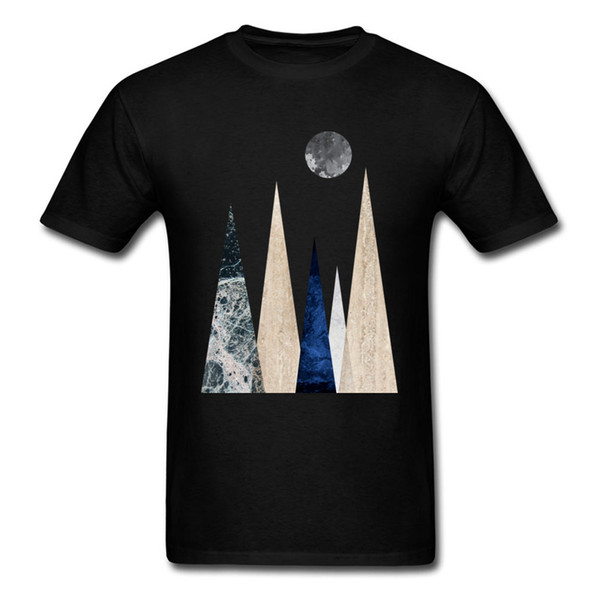 Design Geometric Nature Scandi Mountain Scene Men T-shirt Night Moon Simple Style Tops Short Sleeve Tee Shirt Casual